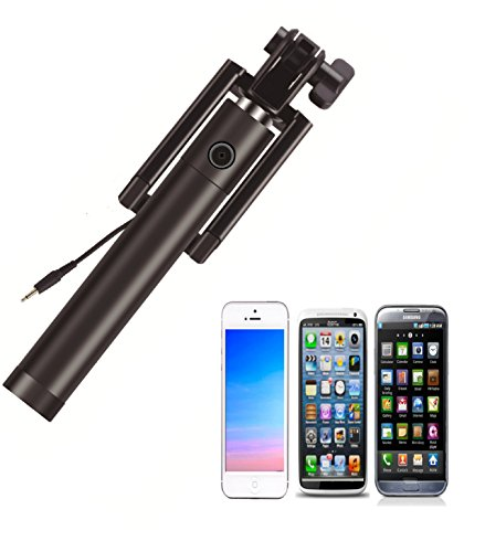 high quality one piece wired extendable smartphone selfie stick handheld mono. Black Bedroom Furniture Sets. Home Design Ideas