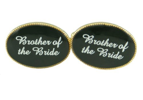 Design-Link Brother Of The Bride Personalised Wedding Cufflinks Gold Plated Black Background