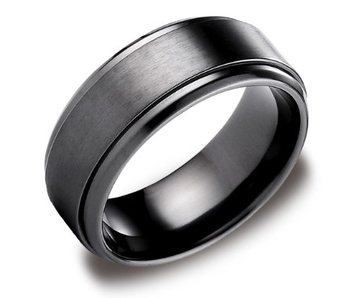 Men's Black Titanium 9mm Comfort Fit Wedding Ring Band Satin Finish and High Polished Edges, Size 9