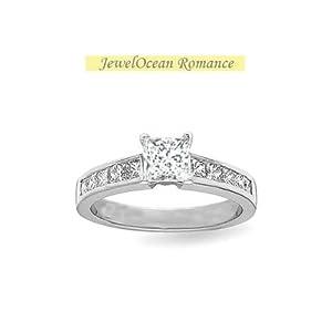 1 CaratPrincess cutDiamondPrincess Diamond Engagement Ring On10K WhiteGold