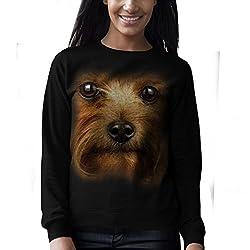 Wellcoda   Yorkshire Terrier Dog Womens Yorkie Black Sweatshirt S-2XL
