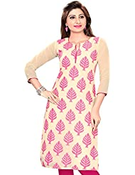 Meher Impex Jute Kurti With Pink Leaf Print