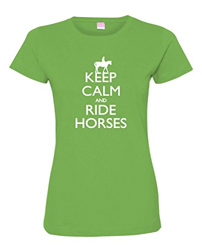 Womens Keep Calm And Ride Horses Equestrian Horse Lovers Deluxe Soft T-Shirt