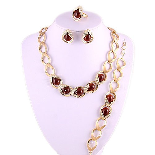 4 Pc Gold Plated Cats-eye Stone and Rhinestone Necklace Set Fashion Jewelry