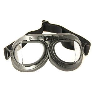 Wwii Raf Vintage Pilot Motorcycle Biker Cruiser Helmet Black Goggles Silver Lens
