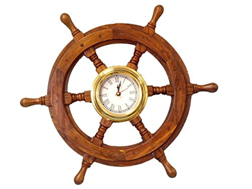 "Hampton Nautical Deluxe Class Wood and Brass Ship Wheel Clock 18"" - Decorative Ship Steering Wheel - Nautical Home Decorating"