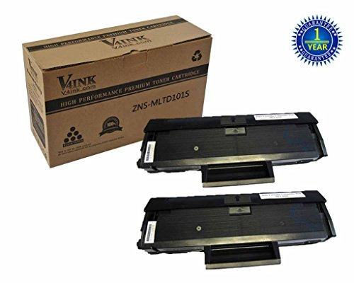 V4INK ®2 pack New Compatible Samsung MLT-D101S Toner Cartridges 1500 Page Yield for Samsung ML-2160 Samsung ML-2161 Samsung ML-2162 Samsung ML-2165 Samsung ML-2166 Samsung SCX-3400 Samsung SCX-3406W Samsung SCX-3406HW Samsung SCX-3401 Samsung SCX-3401FH Printers