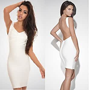 Package Dress Backless Vestidos White Color : Size L : Everything Else