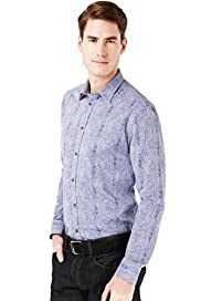Autograph Luxury Pure Cotton Slim Fit Scratch Print Shirt