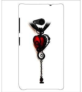 PrintDhaba Heart Pendant D-1221 Back Case Cover for MICROSOFT LUMIA 535 (Multi-Coloured)