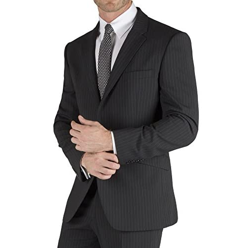 Suit Direct Tom English Black Stripe Regular Fit Suit - Contemporary Single Breasted Tailored Fit Two Piece Suit