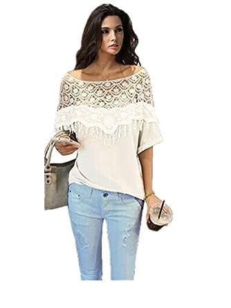 reine à la mode creux Crochet dentelle épaule Batwing T-shirt Hauts de Chemisier (M, Blanc)