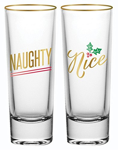 Christmas Shot Glass Set - Naughty Nice Set of 2 - Funny Christmas Gift