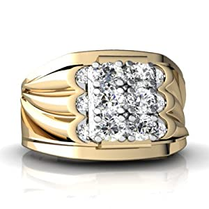 14K Yellow Gold White Diamond Men's Men's Ring Size 12