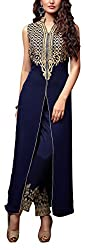 Miss Ethnic Women's Georgette Unstitched Dress Material (Blue)