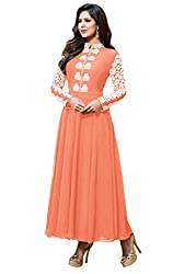Regalia Ethnic New Collection Light Orange Embroidered Georgette Semistitched Dress Material With Matching Dupatta