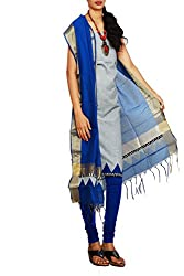 Unnati Silks Women Unstitched grey-blue Andhra khadi cotton salwar suit