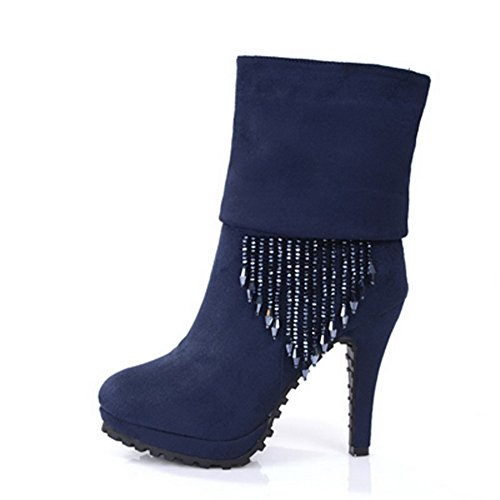 Voguezone009 Womens Closed Round Toe High Heel Imitated Suede Cotton Solid Boots With Glass Diamond, Blue, 39