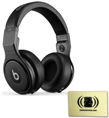 Beats By Dr. Dre Pro Studio Over-Ear Headphones (Blackout) Bundle With Custom Design Zorro Sounds Cleaning Cloth