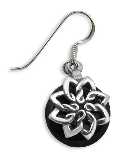Onyx Lotus Earrings in Sterling Silver