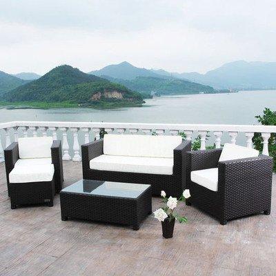 Outflexx Loungegarnitur, 2 Sitzer, 1 Sessel, 1 Tisch und Hoker, 1125 Polyrattan w3, braun