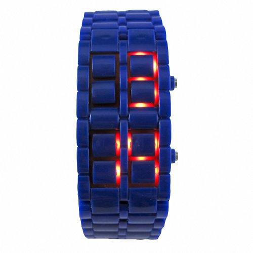 Youyoupifa Unisex Plastic Red Led Digital Bracelet Watch (Navy Blue)