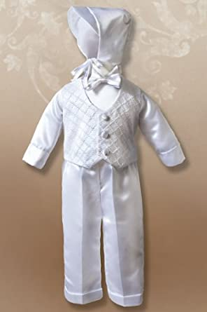 Boy's Christening Outfit with Cross-Hatched Vest, 6-9 Months, 14-18 lbs