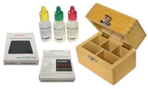 JSP 10k/14k/18k Gold Test Acid Solutions Tester Kit Detect Metals Scrap Jewelry + Wooden Box + PRO 2x2 Testing Stone (Color: black)