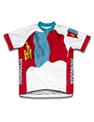 Mongolia Flag Short Sleeve Cycling Jersey for Women