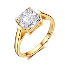 buy Umode Jewelry Vintage Style 2.25 Carat Clear Square Cut Cubic Zirconia Solitaire Engagement Ring (Gold Color,Size 6)