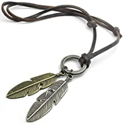 KONOV Jewelry Vintage Style Angel Feather Pendant Leather Mens Necklace Chain Gold Silver Brown