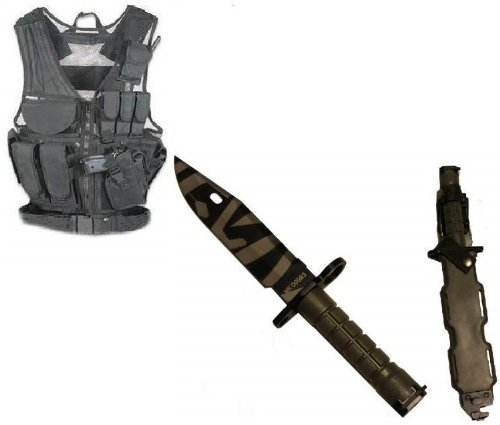 Ultimate Arms Gear Stealth Black Lightweight Edition Tactical Scenario Military-Hunting Assault Vest W/ Right Handed Quick Draw Pistol Holster + Od Olive Drab Green M9 M-9 Military Survival Tiger Stripe Tigerstripe Blade Bayonet Knife With Tactical Sheath