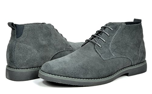 BRUNO MARC MODA ITALY CHUKKA Men's Classic Original Suede Leather Desert Storm chukka boots grey size 9 (Mark New York Leather compare prices)