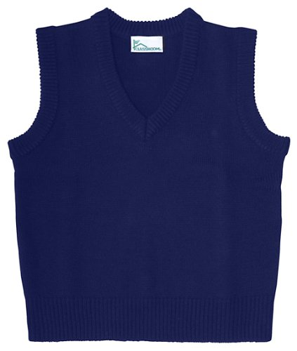 Classroom Uniforms 56914 Adult'S V-Neck Sweater Vest Dark Navy Large front-41383