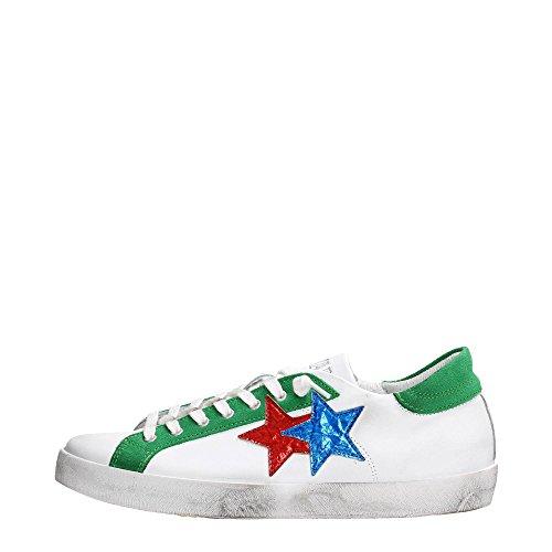 2 Star 2SU1006 Sneakers Uomo Pelle Bianco - Verde Bianco - Verde 42