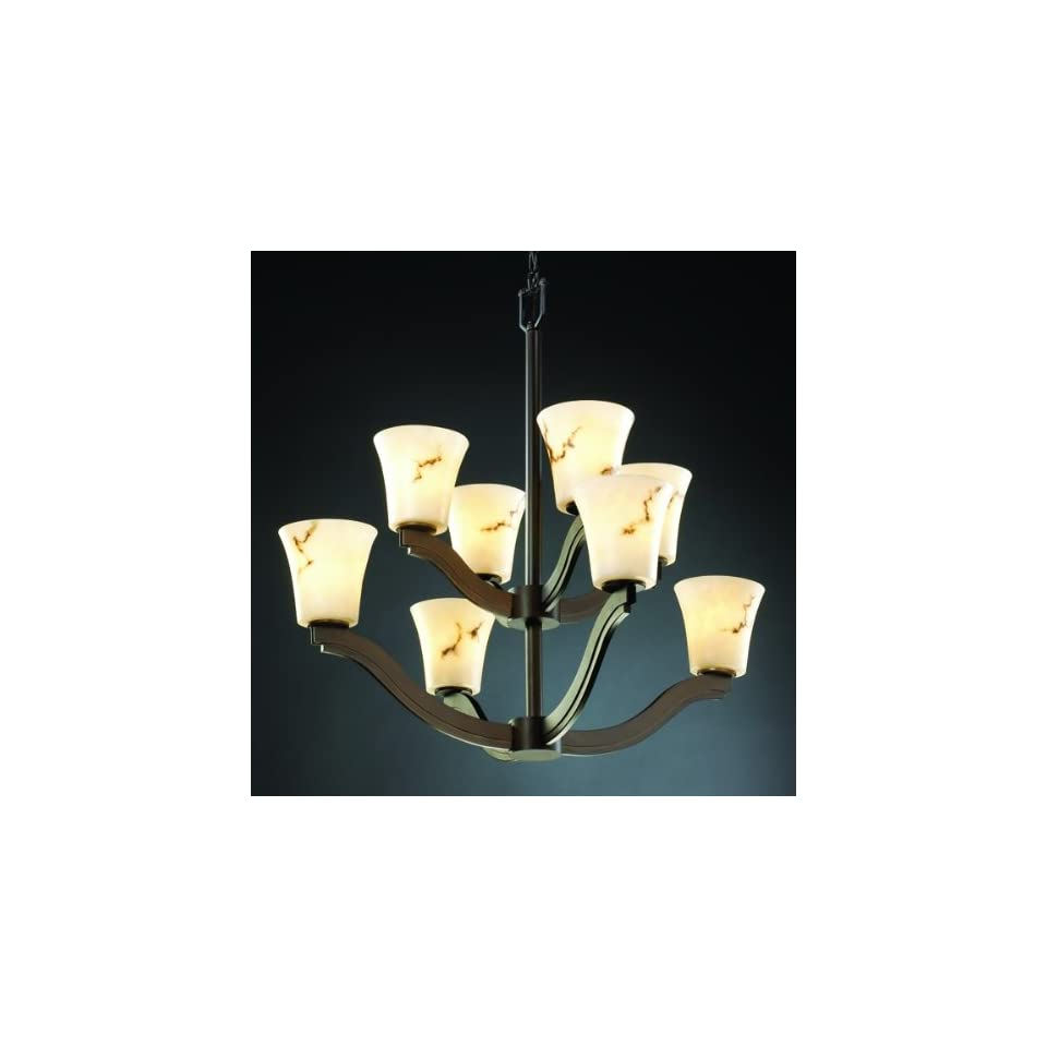 Justice Design Group FAL 8978 MBLK Matte Black LumenAria Bend 8 Light 2 Tier Chandelier from the LumenAria Collection FAL 8978
