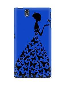 AMEZ designer printed 3d premium high quality back case cover for Sony Xperia Z (dark blue princess)