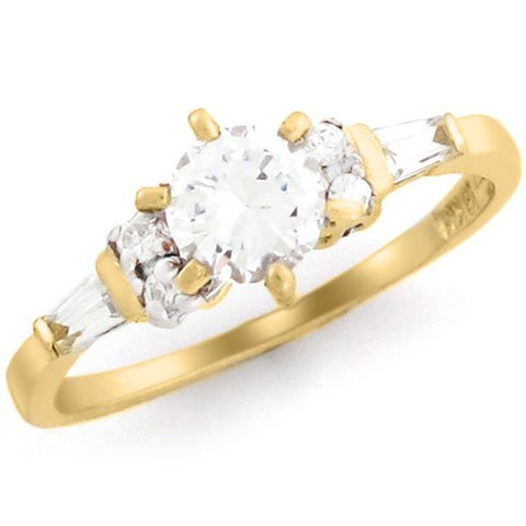 10k Yellow Gold 5.25mm Round CZ Baguette Promise Ring