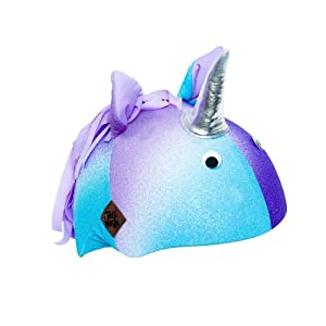Unicorn Helmet Cover (Lycra) - One Size Fits All (Kids + Adults) & All Sports... by Tail Wags Helmet Covers