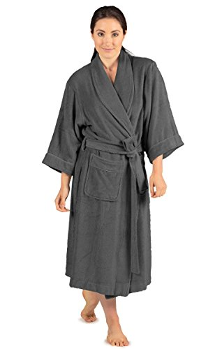Women's Terry Cloth Bathrobe - Ecovaganza (Pewter, Small/Medium) Unique Gifts for Her WB0101-PWT-SM