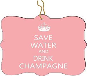 Rikki KnightTM Save Water and Drink Champagne Light Pink Design Tree Ornament / Car Rear View Mirror Hanger
