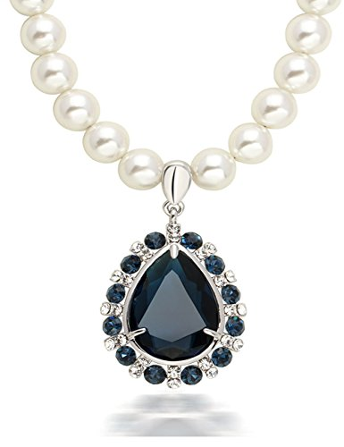 [Women's Vintage National Style Pearl Crystal Water Drop Design Pendant Necklace] (Audreys Costume Castle)