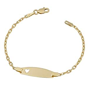 14 karat yellow gold cable link baby id with