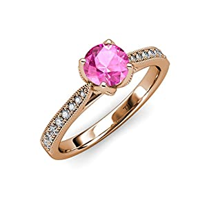 Pink Sapphire and Diamond Solitaire Plus Engagement Ring with 1.11 ct tw in 14K Rose Gold