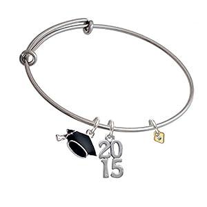 Mini Clear Crystal Birthstone Gold Heart Class of 2015 Graduation Cap Expandable Bangle Bracelet