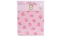 Honey Baby 100% Cotton Girls Fitted Crib & Toddler Bed Sheet (Snow Rose)