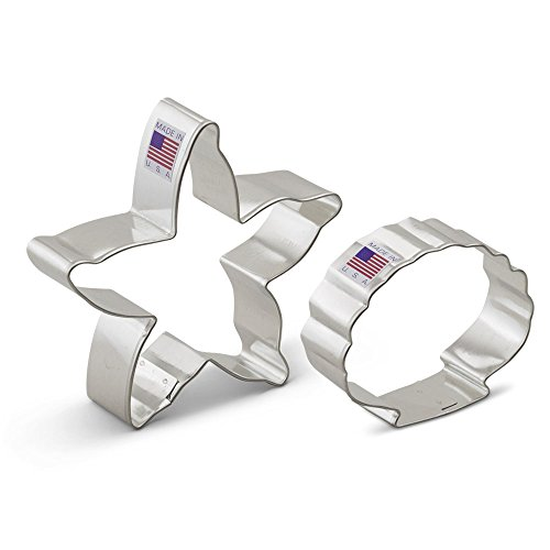 Beach Cookie Cutter Set - 2 Pieces - Starfish and Seashell - Ann Clark - US Tin Plated Steel (Beach Themed Cookie Cutters compare prices)