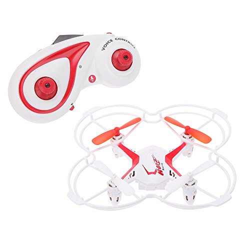 Quadrone Voice Controlled 4 Channel 2.4 GHz RC Quadcopter Drone, White/Red