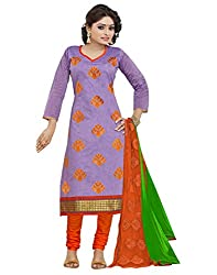 Bollywood Movie Style Embroidered Party Wear Cotton Purple Un Stitched Branded Salwar Suit Dress Material for women girls ladies From Lookslady