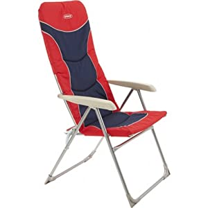 outback high back recliner folding chair blue red camping